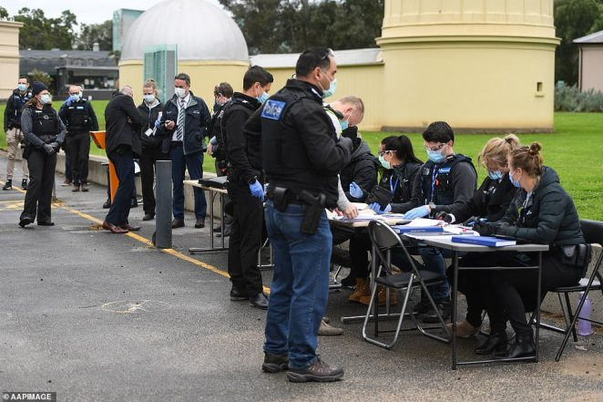 Police have set up a checkpoint near the Shrine of Remembrance as they try to shut down the planned protest on Saturday