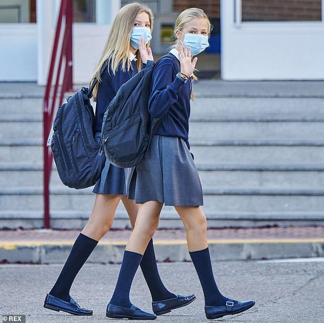 Heir to the Spanish throne Princess Leonor, 14, and her sister Princess Sofia, 13, have gone into quarantine after a classmate at their school tested positive for COVID-19