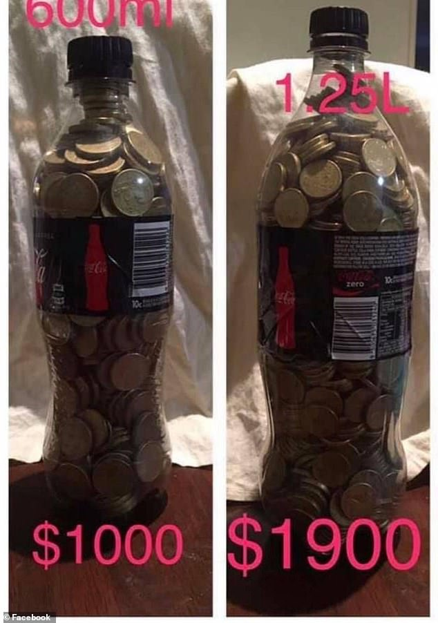 The challenge involves using different sized coke bottles as piggy banks, which can save users as much as $3,000