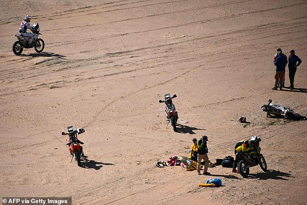 The scene of Goncalves' fatal crash on January 12 pictured. At least 28 competitors have died in the 40 years since the deadly Dakar Rally competition began