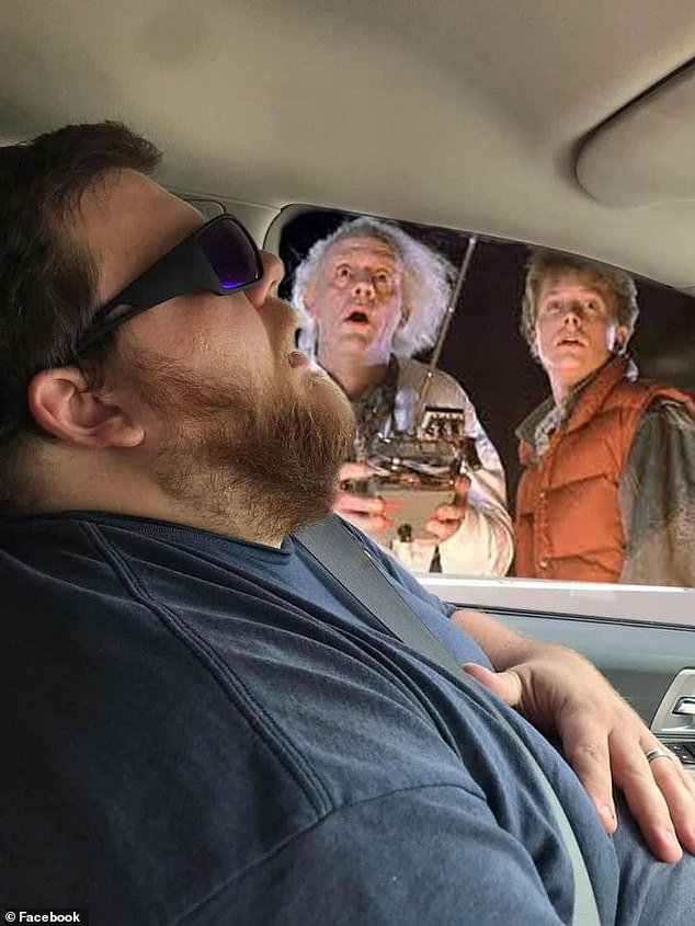 Sharea Overman, a part-time photographer,  told CNN that she snapped a pictured of her husband as he appeared asleep on their road trip. Pictured 'Doc' and Marty McFly from Back to the Future