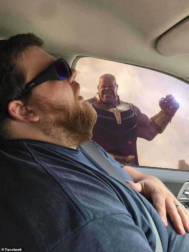 Sharea Overmand: 'So, I decided to post the photo and asked people to photoshop some fun backgrounds into the photo. To make it look like he fell asleep while all these crazy things were going on' Pictured: Thanos from the Avengers franchise