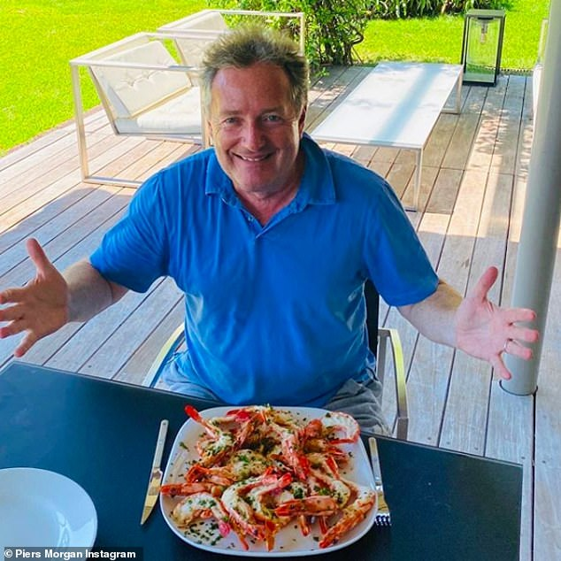 Goals: Last month Piers revealed he had embarked on a strict new diet plan in a bid to shape up after a summer of over indulging on wine and cheese