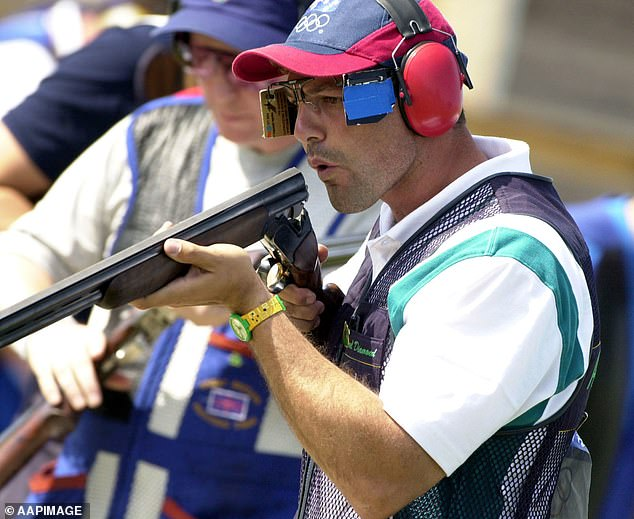 The Australian shooting star (pictured)claimed his first Olympic gold at Atlanta in 1996 before celebrating a back-to-back win at the trap event in Sydney in September 2000