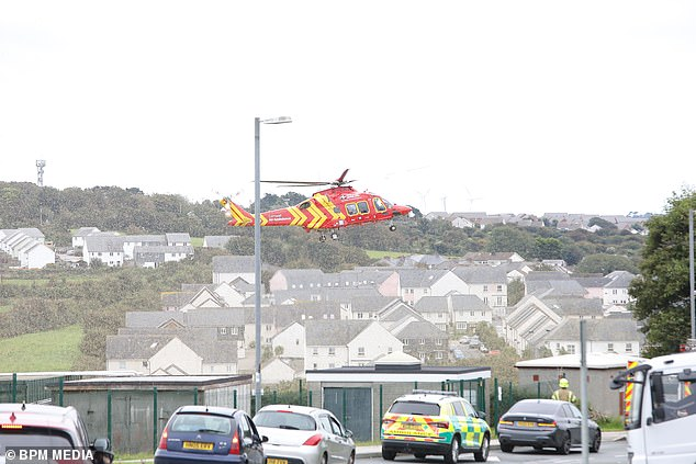 Pc Mares was airlifted to hospital following the incident on Friday morning in Newquay, pictured