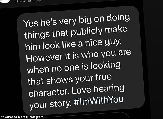 Vanessa also made a dig at Brian, writing: 'He's very big on doing things that publicly make him look like a nice guy. However, it is who you are when no one is looking that shows your true character'