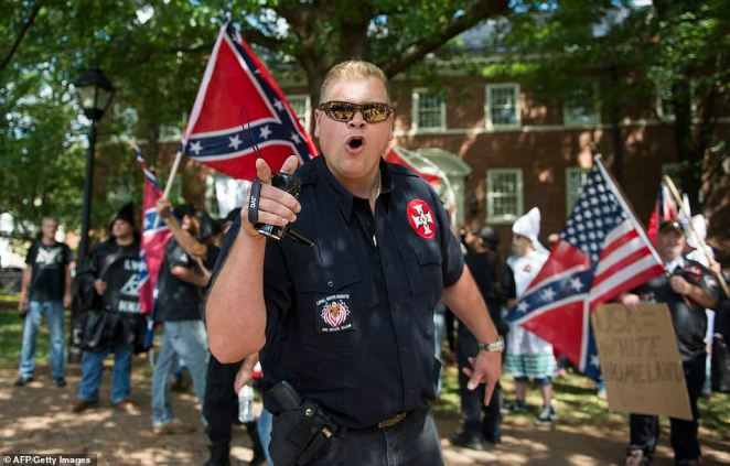 Back in July 2017, members of the Klu Klux Klan turned out in Charlottesville to stage a protest against the removal of the Lee monument (pictured)