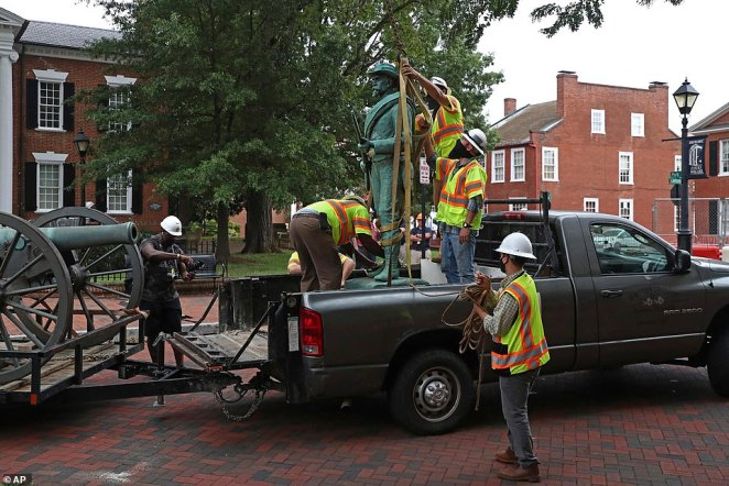 The statue taken was located just a block away from of a monument of Confederate General Robert E. Lee, which still stands