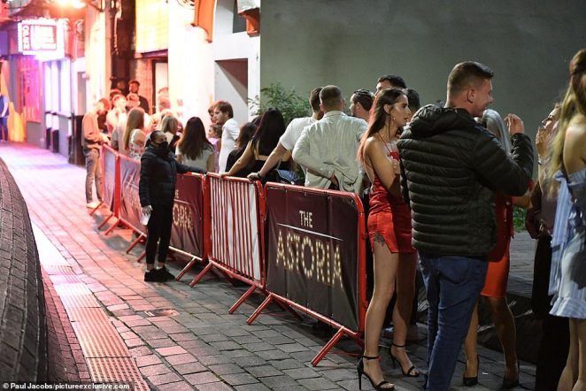 Hundreds of people enjoyed a Saturday night on the town in the pubs and bars in Guildhall Walk in Portsmouth, Hampshire