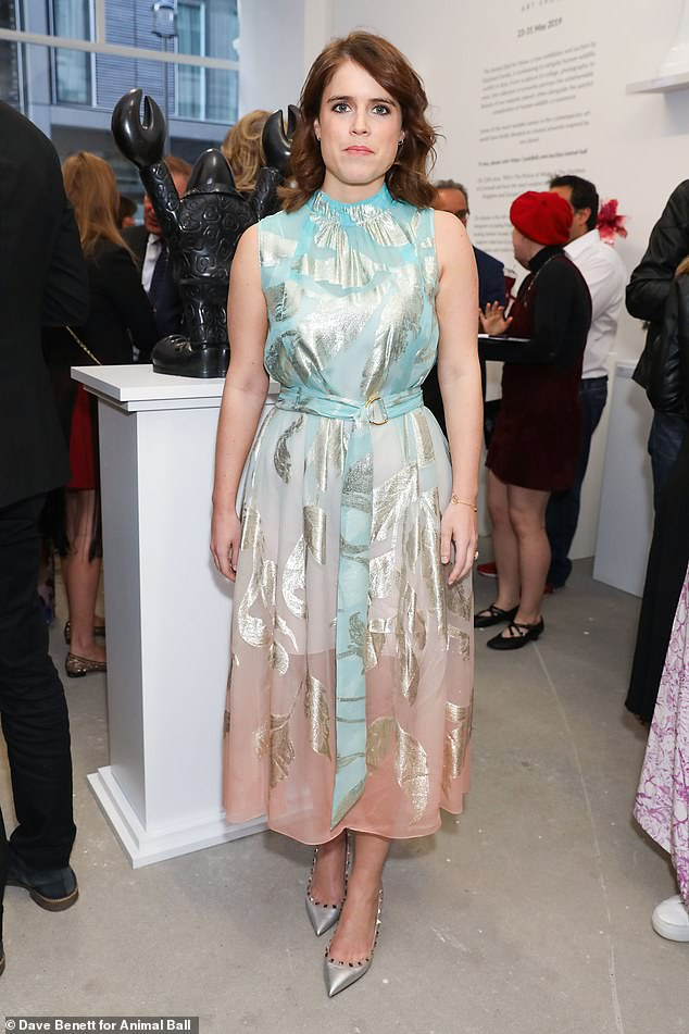 Princess Eugenie at the Animal Ball May 2019 in a Peter Pilotto ¿Gradient¿ midi dress¿ £1,900 Valentino ¿Rockstud 100¿ pumps £535