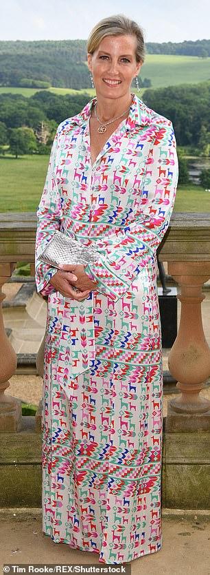 Sophie Wessex at Leeds Children¿s Hospital dinner 2018 in a Galvan ¿Andina¿ llama print silk shirt dress £1,195. Sophie Habsburg ¿Amber¿ clutch¿ £378. Prada sandals £645. G. Collins & Sons diamond pendant £5,600. Ippolita topaz earrings £1,310 (pictured after)