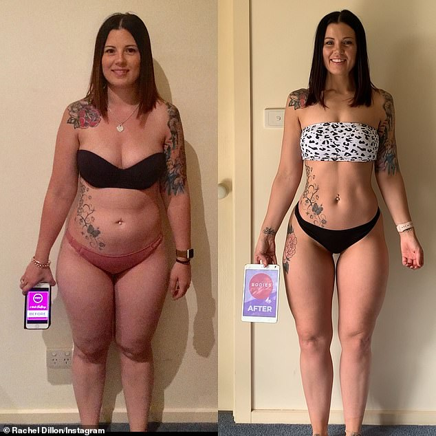 While Rachel acknowledges that exercise is important, like many PTs she believes that it's diet that holds the key to a slim physique (one of her clients pictured before and after)