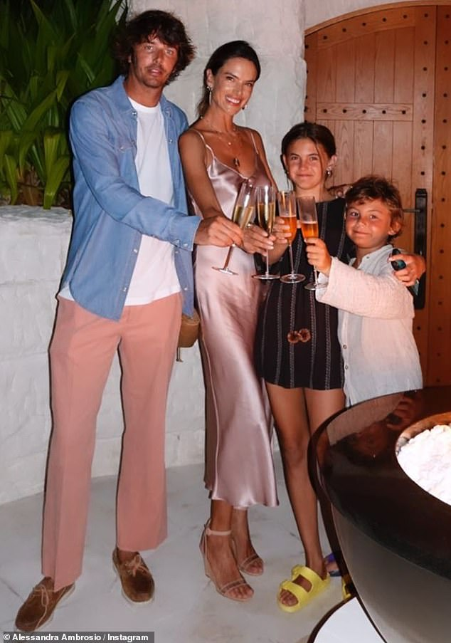 Family vacation: They were also accompanied by her daughter Anja Louise, 12, whom she shares with ex Jamie Mazur, 39