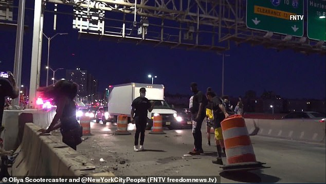The activists were followed by Port Authority Police as they left the bridge