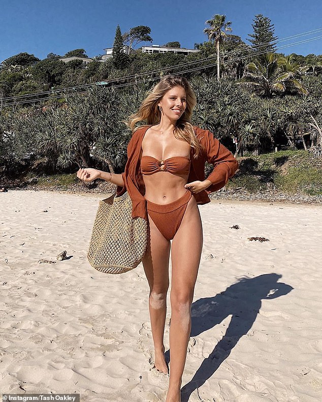 Michelle explained: 'I feel like I¿m really old in saying that it concerns me and it worries me that my industry is turned into a T&A fest. But nonetheless, that¿s where we¿re at' [Pictured fitness influencer Natasha Oakley]