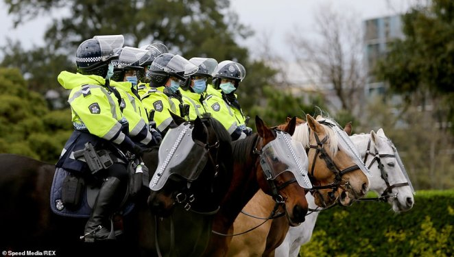 Members of the mounted police unit are out in full force in Victoria on Sunday. Pictured on Saturday