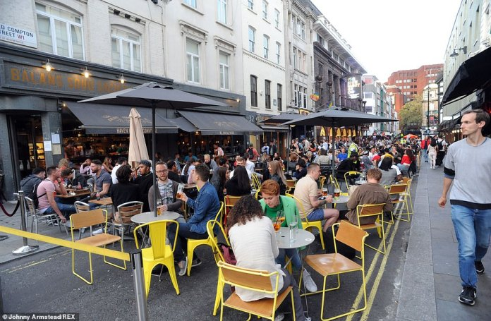 LONDON: Earlier in the day groups of people had met around tables in the streets of Soho in London ahead of new rules limiting gatherings to six