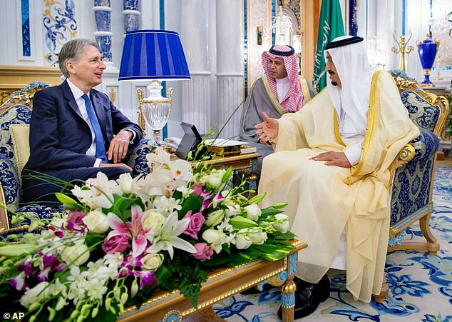 Philip Hammond took a role as an adviser to the Saudi finance minister this year. He is pictured meetingKing Salman bin Abdulaziz Al Saud in Jeddah in May 2016