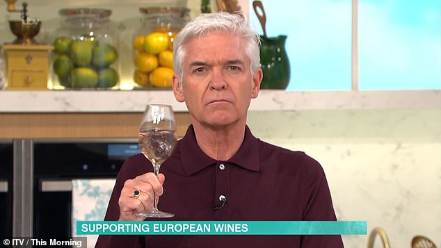 Schofield, 58, is described on Waitrose's website as 'a well-known wine aficionado and environmentally aware consumer' who launched the wines in April (pictured: on ITV's This Morning)