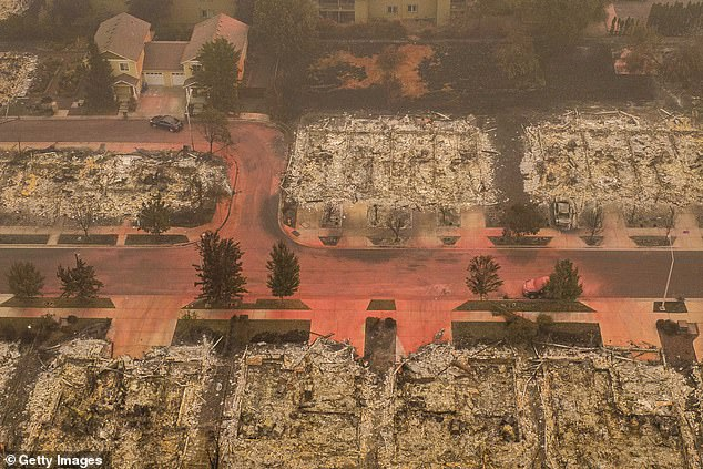 In this aerial view from a drone, homes destroyed by wildfires are seen on September 12 in Talen, Oregon