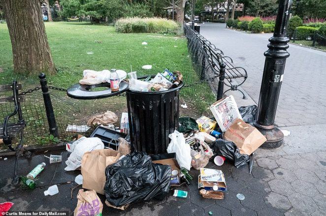 The aftermath of the back-to-back gatherings was laid bare on Sunday morning as trash was seen covering nearly every surface in the park