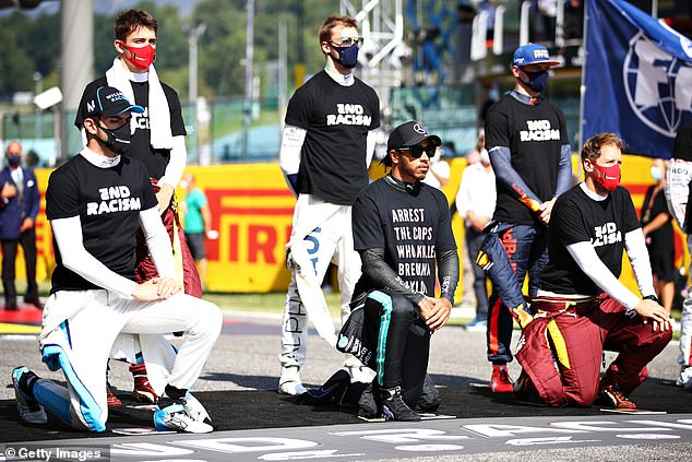 T-shirts: Other racers were also seen wearing T-shirts emblazoned with the words 'end racism'
