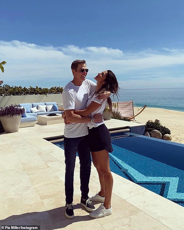 Reunited: Pia Miller, 36, made up for lost time with her American multi-millionaire agent boyfriend Patrick Whitesell, 55, on Sunday, after finally reuniting amid the pandemic's strict international border closures. Pictured in a prior Instagram post