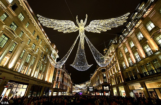 Christmas light switch-on ceremonies have been cancelled in some areas of the country over concerns that large gatherings, even outside, could help increase the spread of coronavirus. Pictured: Regent Street's Christmas light display on November 15, 2018