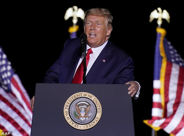 President Donald Trump said he will 'negotiate' a third term in the White House because he's 'entitled' to it during a campaign event in Minden, Nevada, on Saturday night
