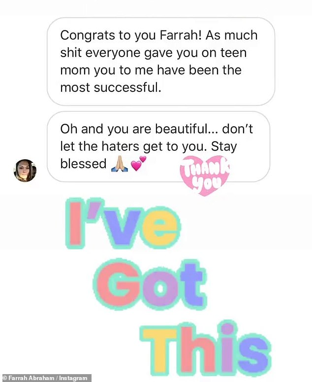 Congrats: Farrah reposted some of the messages she had received from fans congratulating her on her special day.