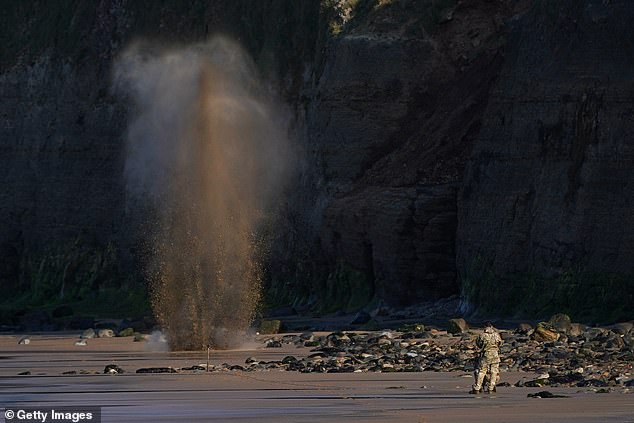 The grenade blast sent sand flying into the air after it was found on a public beachby a teenage boy on Cat Nab, Saltburn in the North East