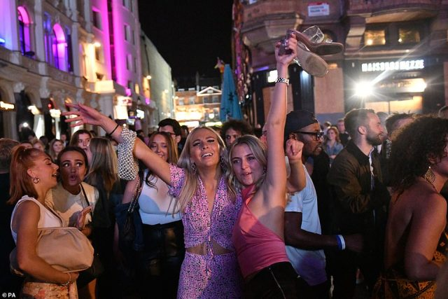 LONDON: People enjoying a night out in Leicester Square in London's West End ahead of new social distancing rules coming in