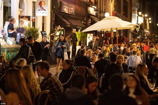 LONDON: General view of people enjoying a night out in Soho, in London's West End as people have been warned against having a 'party weekend