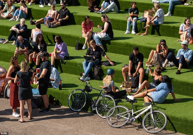 People were enjoying the Autumn sunshine in Kings Cross, London as they met up on the sunny Sunday