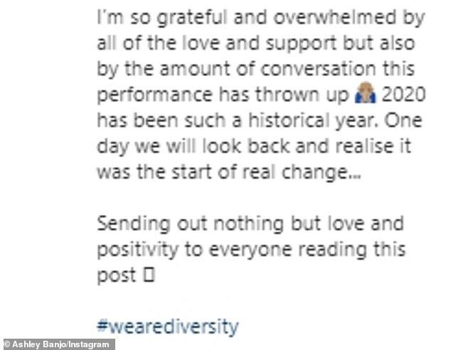 'My truth, my platform, my art': Ashley addressed the negative response following the performance last week by sharing this statement
