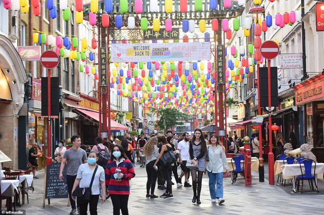 Chinatown was full of people as they flocked to the centre of London to enjoy the sunny day in the tourist hotspot