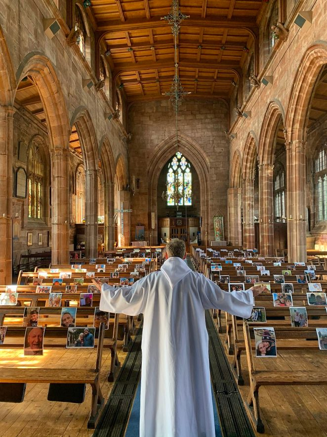 Prayers for Our Community by The Revd. Tim Hayward and Beth Hayward. Pictures of the congregation are seen above