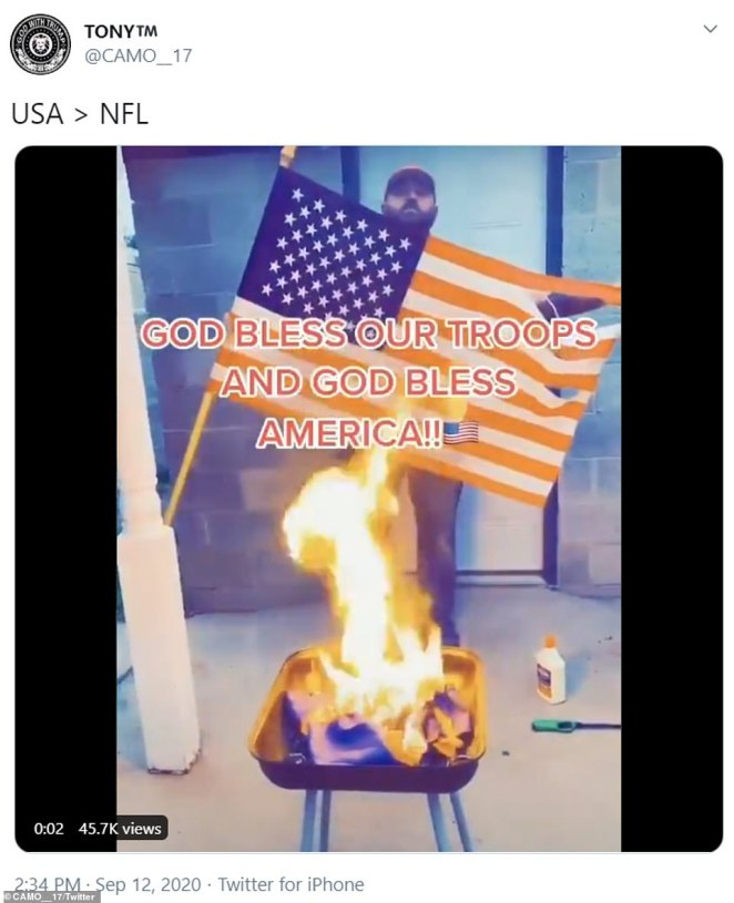 The former Denver Bronco's fan concluded the video of him burning the team flag by holding up the stars and stripes