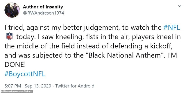 One NFL fan declared themselves to be 'Done!' after being 'subjected' to kneeling players, fists in the air and the Black National Anthem