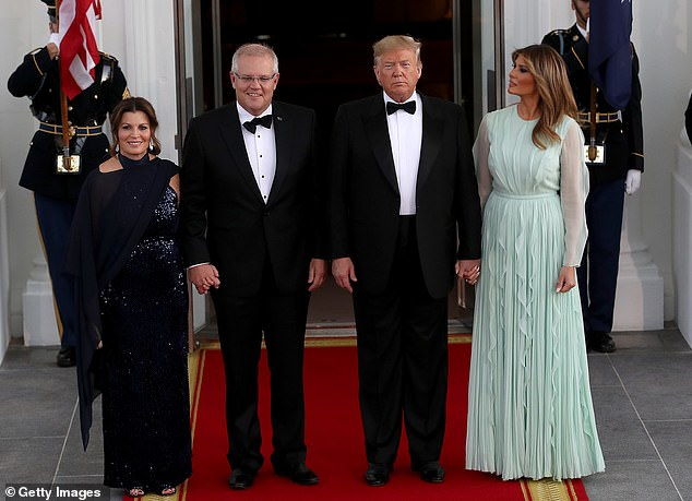US President Donald Trump and first lady Melania Trump with Australian Prime Minister Scott Morrison and his wife Jenny Morrison. The US and Australia could form half of an organisation which would look to emulate the North Atlantic Treaty Organisation