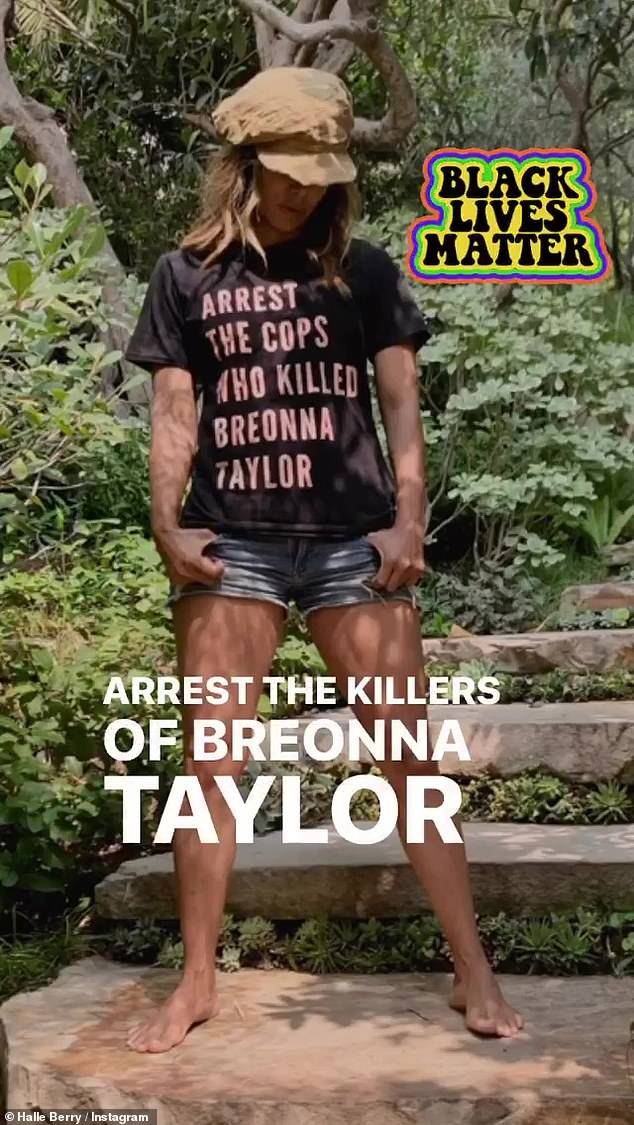 Justice: Berry also shared a photo where she asked for the arrests of the cops who killed Breonna Taylor