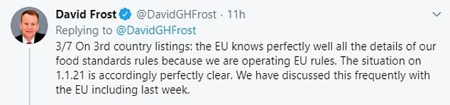 In an exchange with Mr Barnier on Twitter last night, Lord Frost hit back: 'The EU knows perfectly well all the details of our food standards rules because we are operating EU rules