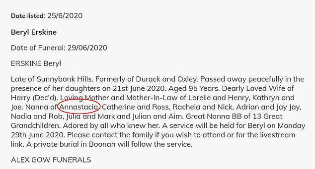 A death notice printed in the Courier Mail name-checked the Queensland Premier and members of her family as it broke the news of Mrs Erskine's daeth