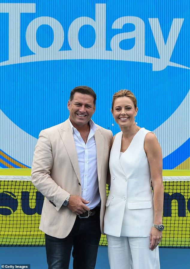 'Ally is on a well-deserved week holiday': Karl (left) said Deb is only temporarily replacing his co-host Allison Langdon (right) for the week while she is away on annual leave