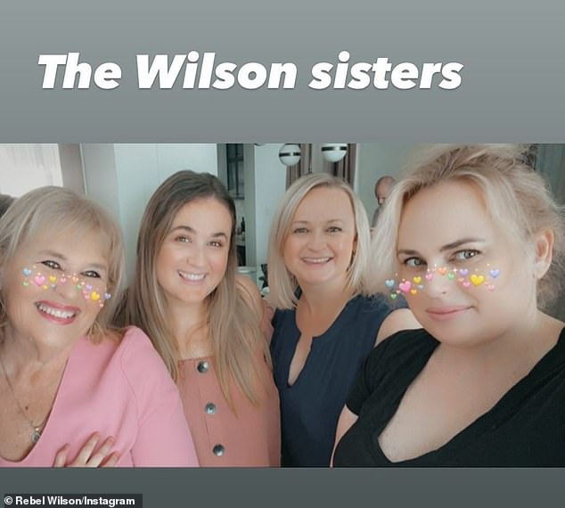 Family ties! Rebel Wilson shared a rare family photo on Sunday. Pictured: Rebel's mother, Sue (left), her sisters, Annarchi (centre left) and Liberty (centre right) and Rebel (right)