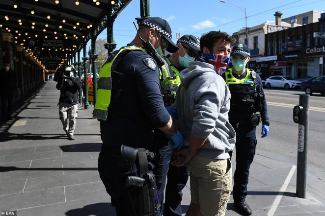 Previously an anti-lockdown rally was held at the Shrine of Remembrance in Melbourne, resulting in 17 arrests and more than 160 fines being issued for breaching government health directions