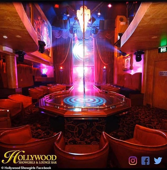 'They got in a big fight at Hollywood Showgirls the other weekend... everyone heard and saw it,' a witness said (Pictured is the inside of the prominent strip club on the Gold Coast)