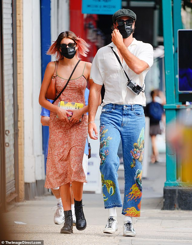 He knows a spot: Australian heartthrob Jacob Elordi recently took his new girlfriend Kaia Gerber to his local farmers market in New York [Both pictured strolling though the streets of NYC]