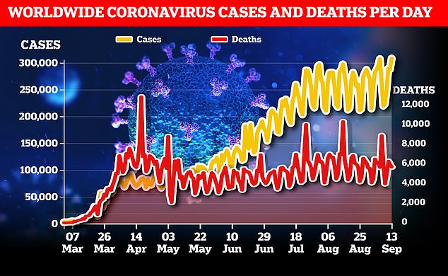 While cases (in yellow) have continued to increase during the pandemic, deaths (in red) have held relatively steady. The deaths line is measured on a different axis (right), meaning it appears higher than cases in April in May, but the number of cases has always been higher