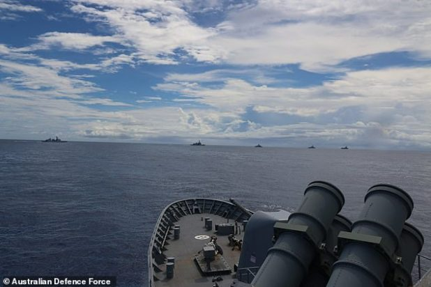 The regional powers are training together, frightened by China's increasingly aggressive stance in the Pacific.  Picture: Joint naval maneuvers on Wednesday near Guam